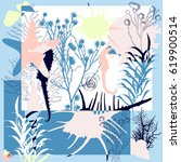 summer retro sea print. silk... | Shutterstock .eps vector #619900514