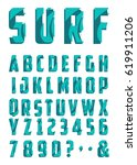 decorated alphabet with wave... | Shutterstock .eps vector #619911206