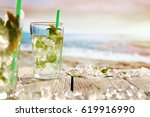 summer drink on beach and... | Shutterstock . vector #619916990
