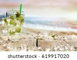 summer drink on beach and... | Shutterstock . vector #619917020