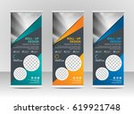 roll up banner stand template... | Shutterstock .eps vector #619921748