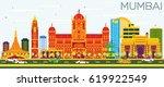 mumbai skyline with color... | Shutterstock .eps vector #619922549