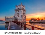 belem tower or tower of st... | Shutterstock . vector #619923620