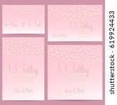 wedding invitation card with... | Shutterstock .eps vector #619924433