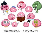 collection of brain character... | Shutterstock .eps vector #619925924