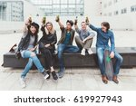 group of friends multiethnic... | Shutterstock . vector #619927943