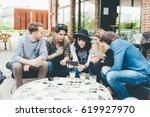 group of friends multiethnic... | Shutterstock . vector #619927970
