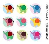 cute elephant vector set. cute... | Shutterstock .eps vector #619930400