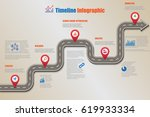 design template  road map... | Shutterstock .eps vector #619933334