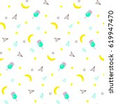 seamless pattern with yellow... | Shutterstock .eps vector #619947470