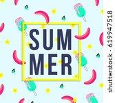 vector of bright summer cards.... | Shutterstock .eps vector #619947518
