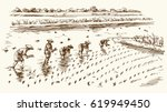 asian farmers working on field. ... | Shutterstock .eps vector #619949450
