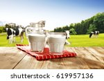milk and landscape with green... | Shutterstock . vector #619957136