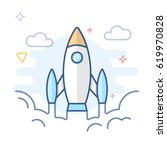 rocket launch and startup line... | Shutterstock .eps vector #619970828