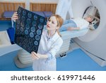 beautiful female radiologist... | Shutterstock . vector #619971446