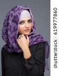woman in a muslim headscarf... | Shutterstock . vector #619977860