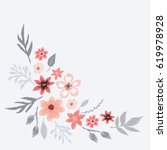 pattern branch with wildflowers ... | Shutterstock .eps vector #619978928