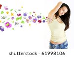 beautiful healthy girl and flower smell. - stock photo