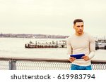 american man traveling in new... | Shutterstock . vector #619983794