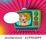 retro tv set with sexy... | Shutterstock .eps vector #619983899