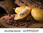 cacao fruit  raw cacao beans ... | Shutterstock . vector #619992029