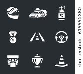 set of auto rally icons. | Shutterstock . vector #619995380