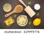homemade skin care and body... | Shutterstock . vector #619995776
