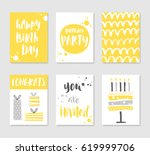 set of 6 cute creative cards... | Shutterstock .eps vector #619999706