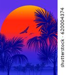 tropical sunrise with pink... | Shutterstock .eps vector #620004374