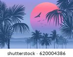 tropical sunrise with pink... | Shutterstock .eps vector #620004386