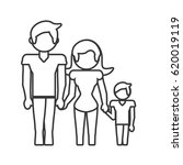 family dad mom and son outline   Shutterstock .eps vector #620019119