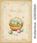 retro easter card. vector... | Shutterstock .eps vector #620020664