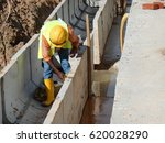 construction workers installing ... | Shutterstock . vector #620028290