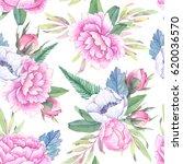hand drawn watercolor seamless... | Shutterstock . vector #620036570