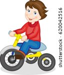 a happy child is riding a three ...   Shutterstock .eps vector #620042516