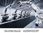3d rendering robotic arms with... | Shutterstock . vector #620043239