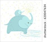 cute elephant is splashing...   Shutterstock .eps vector #620047634