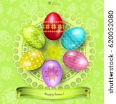 happy easter greeting... | Shutterstock .eps vector #620052080