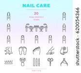 nail care outline icon set of... | Shutterstock .eps vector #620054366