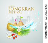 songkran festival water splash... | Shutterstock .eps vector #620060123
