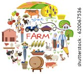 farmer and farmland  the... | Shutterstock .eps vector #620067536