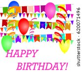a poster with a birthday with... | Shutterstock .eps vector #620071496