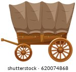 wagon with wooden wheels... | Shutterstock .eps vector #620074868