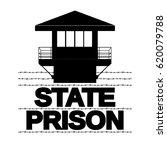 letters prison. prison tower... | Shutterstock .eps vector #620079788