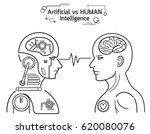humans vs robots. ai artificial ... | Shutterstock .eps vector #620080076