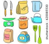 doodle of kitchen equipment set ... | Shutterstock .eps vector #620085530