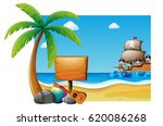summer scene with kids on the... | Shutterstock .eps vector #620086268