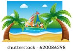 summer scene with kids sailing... | Shutterstock .eps vector #620086298