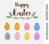 happy easter.set of easter eggs ... | Shutterstock .eps vector #620087660