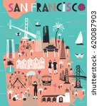 cartoon map of san francisco.... | Shutterstock .eps vector #620087903